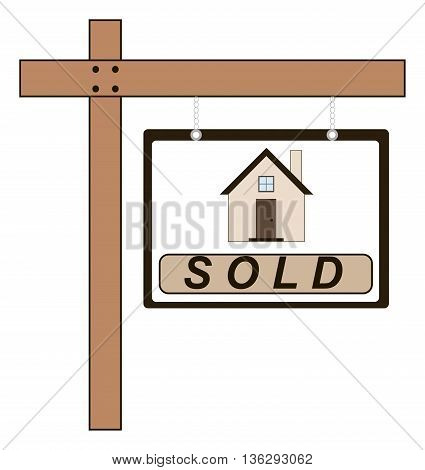 Vector illustration of wooden pointer for sold house