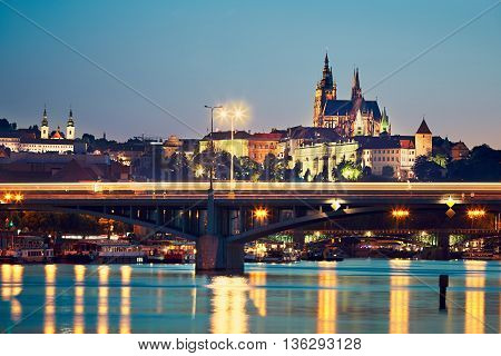 Night view of illuminated old city. Skyline with Prague Castle. Prague is the capital and largest city of the Czech Republic.