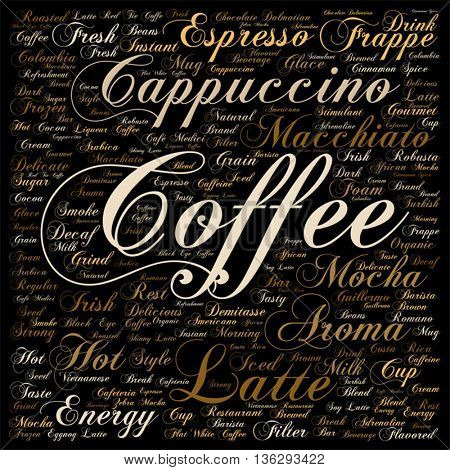 Vector concept conceptual creative hot coffee, cappuccino or espresso square word cloud isolated on background, metaphor to morning, restaurant, italian, beverage, cafeteria, break, energy or taste