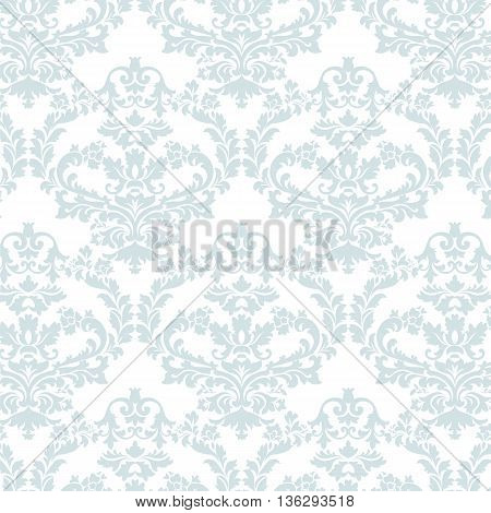 Vector floral luxury ornament pattern. Stylized peonies flower Elegant luxury texture for textile fabrics or backgrounds. Opal Blue color