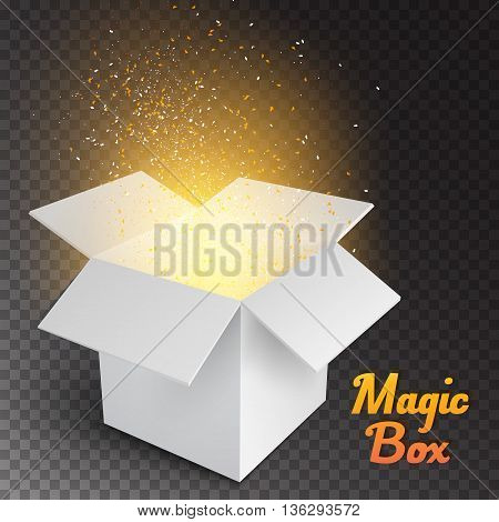 Illustration of Magic Box with Confetti and Magic Light. Realistic Magic Open Box