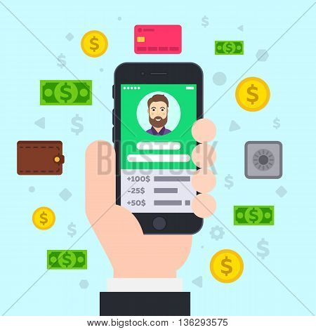 Mobile Banking. Smartphone in hand. Flat vector illustration.