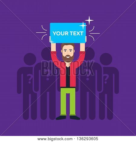 Hand holding sign. Different men. Leader. Blank protest sign. Picket sign. Political agitation campaign. Propaganda poster. Flat vector illustration