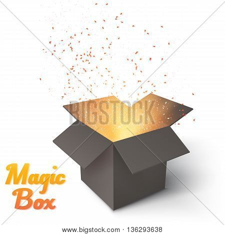 Illustration of Realistic Magic Open Box. Magic Box with Confetti and Magic Light.