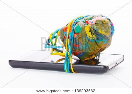 Improvised Explosive Device connected to cellphone isolated on white background