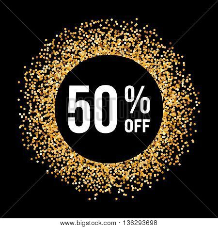 Golden Circle Frame on Black Background with Text Fifty Percent Off