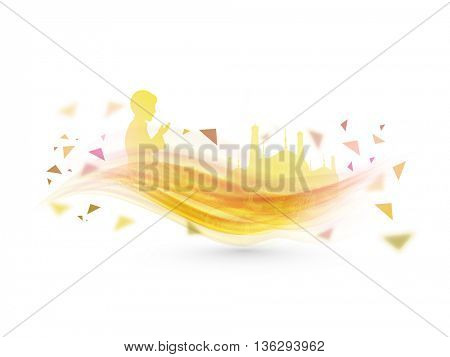 Creative abstract background with illustration of Praying Boy and Mosque on waves, Concept for Islamic Festivals celebration.
