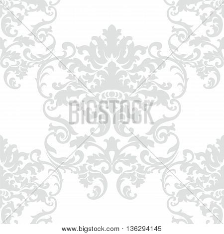 Vector floral damask baroque ornament pattern element. Elegant luxury texture for textile fabrics or backgrounds. Opal gray color