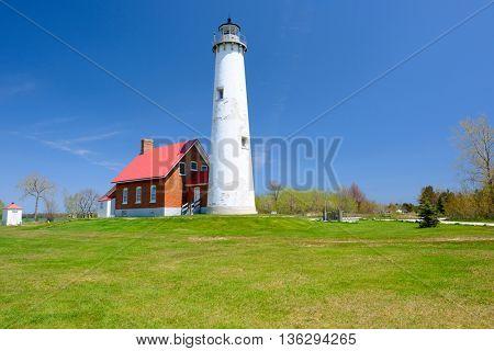 Tawas Point Lighthouse, built in 1876, Lake Huron, Michigan, USA