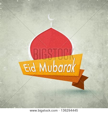 Creative Paper Tag with Mosque on vintage background for Islamic Holy Festival Eid Mubarak celebration.