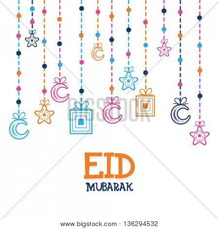 Eid Mubarak Greeting Card design decorated with Hanging Crescent Moons, Stars and Gifts, Beautiful Islamic Background for Eid Festival, for Muslim Community Festivals celebration.