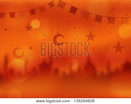Creative Blurred Mosque with Hanging Crescent Moons, Stars and Buntings decoration, Beautiful Islamic Background, Elegant Greeting Card design for Muslim Community Festivals celebration.