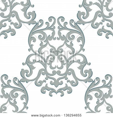 Vector Vintage Classic Damask Pattern element Imperial style. Ornate floral ornament for fabric textile design wedding invitations greeting cards. Puritan gray color
