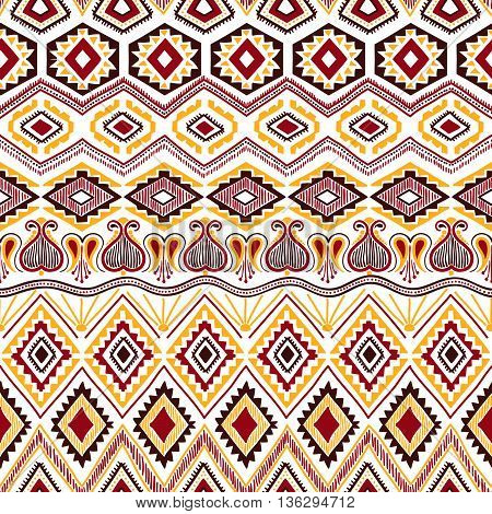 Seamless bohemian background. Geometric hand-drawn. Yellow, white, brown and burgundy colors. Vector illustration.