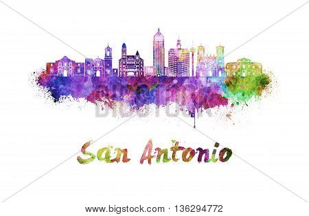 San Antonio skyline in watercolor splatters with clipping path