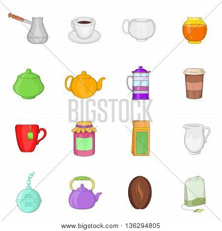 Tea and coffee set in cartoon style isolated on white background