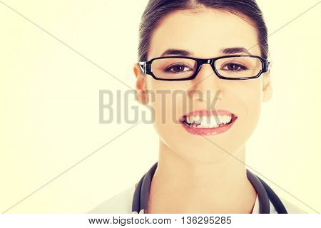 Portrait of a beautiful young doctor woman.