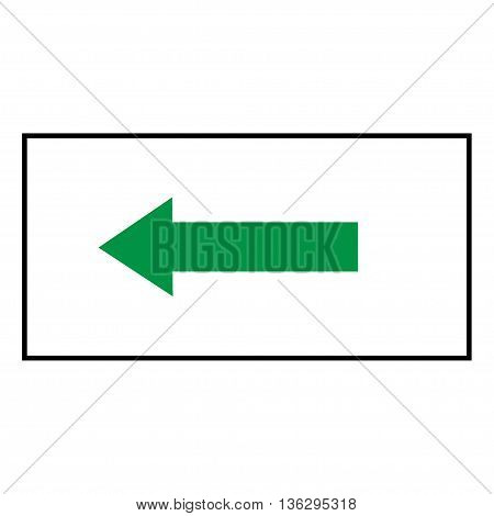 Arrow green sign icon in white rectangle. Isolated on white background .Vector to left symbol marks. Arrow sign picture. White sticker vector illustration. Flat vector image. Vector illustration.