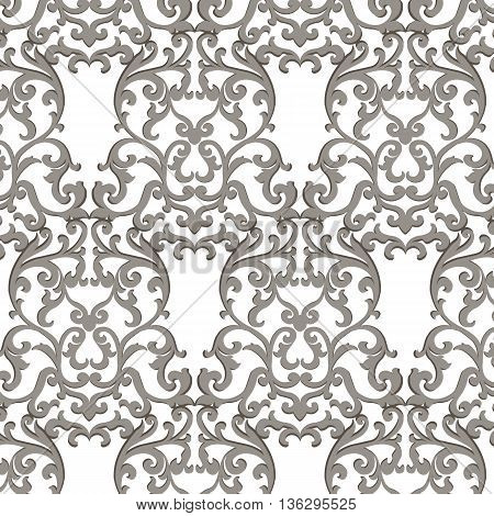 Vector Vintage Classic Damask Pattern element Imperial style. Ornate floral ornament for fabric textile design wedding invitations greeting cards. Gray color