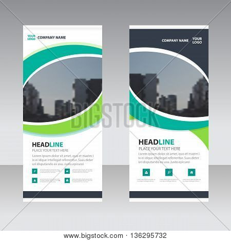 Green abstract circle Business Roll Up Banner flat design template Abstract Geometric banner template Vector illustration set abstract presentation template