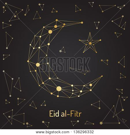 Beautiful abstract design element of the Islamic culture of the Crescent with the star drawn for for muslim community festival Eid Mubarak