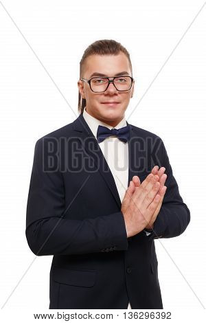 Long haired man isolated at white. Portrait of a confident smiling guy looking at camera. Boy style, trendy middle-aged person in glasses and blue suit. Modern businessman.