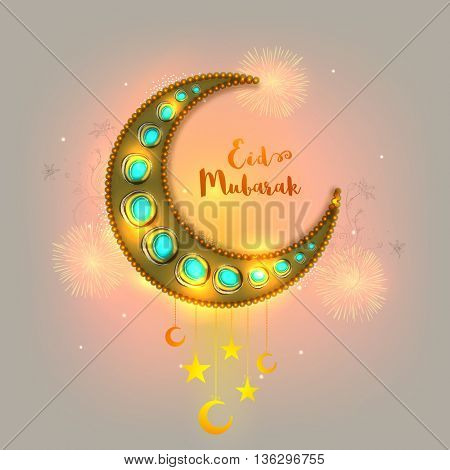 Creative Glowing Crescent Moon on fireworks for Eid, Beautiful Eid Mubarak Greeting Card design, Elegant Shiny Islamic Background, Concept for Muslim Community Holy Festival celebration.