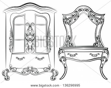 Glass case and dressing table set. Elegant furniture with drawers rich ornamented. Baroque Luxury style furniture. Vector