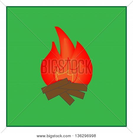 Kindle fire sign in green square. Isolated on white background. Kindle campfire symbol marks. Kindle campfire sign picture. Green sticker vector illustration. Flat vector image. Vector illustration