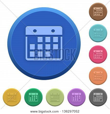 Set of round color embossed hanging calendar buttons