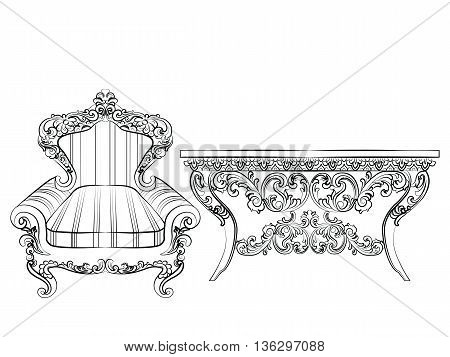 Baroque Imperial luxury style furniture. Elegant armchair and table set with luxurious rich ornaments. Vector sketch