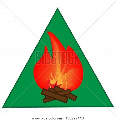 Kindle campfire sign in green triangle. Isolated on white background. Kindle campfire symbol. Kindle campfire picture. Green sticker vector illustration. Flat vector image. Vector illustration