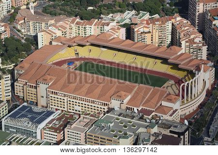 Fontvieille Monaco - June 1 2016: Aerial view of Stade Louis II and Fontvieille District in Monaco south of France