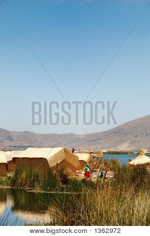 Floating Uros Island On Lake Titicaca In Peru