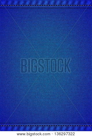 Realistic jeans texture in deep blue colors with frame from seams and thread stitches. Vertical denim pattern background. Vector illustration