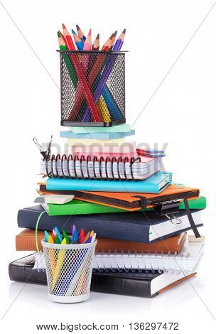 School and office supplies. Isolated on white background