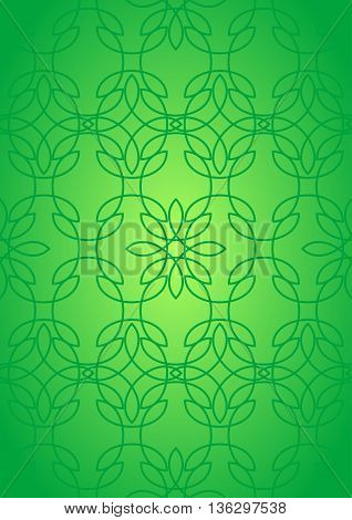 Seamless pattern with abstract stained glass ornament in green colors. Kaleidoscope background. Vector illustration
