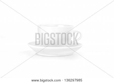 Empty coffee cup. White mug and saucer on white backround