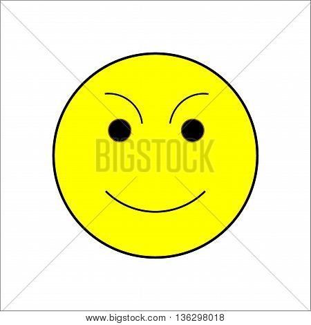 Smile happiness sign on white background. Icon fumn happy. Symbol good mood. Isolated yellow sticker. Modern stylish marks. Colorful template for prints. Vector illustration.