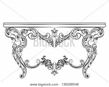 Baroque Luxury style furniture. Elegant table set with rich ornaments. Vector sketch