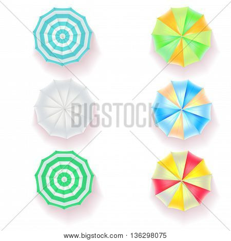 Set of colorful beach umbrellas on white background, top view icons. Vector illustration for your design, poster, covers, invitation, or flyer.