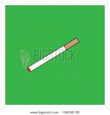 You can smoke sign in green square. Isolated on white background. Smoking area symbol marks. You can smoke sign picture. Green sticker vector illustration. Flat vector image. Vector illustration.