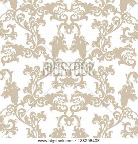 Vector floral damask pattern background. Royal Victorian texture. Classical luxury vintage damask ornament for wallpapers textile fabric wrapping. Delicate floral baroque template. Beige color
