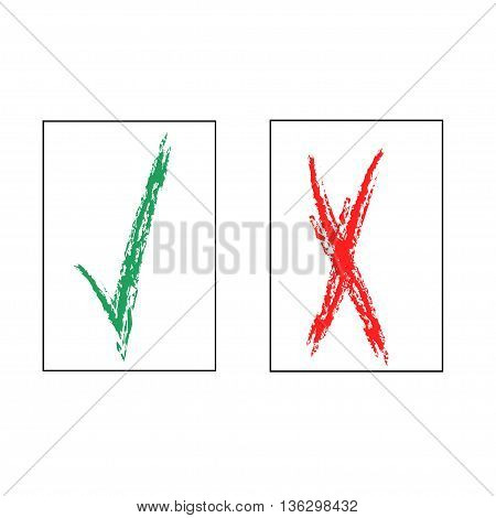 Tick and cross sign in square isolated on white background. Green tick and red cross sign. Tick and cross symbol . White sticker vector illustration. Flat vector image. Vector illustration.