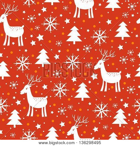 Christmas and New Year background with tree, deer and snowflakes in red colors.