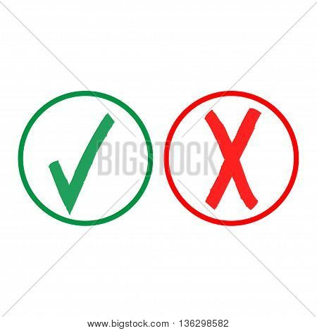 Tick and cross sign in color circle isolated on white background. Green tick and red cross sign. Tick and cross symbol . White sticker vector illustration. Flat vector image. Vector illustration.