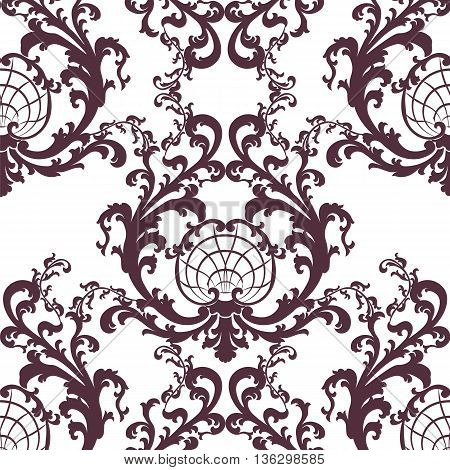 Vintage Vector Floral Baroque Rococo ornament damask pattern. Elegant luxury texture for texture fabric wallpapers backgrounds and invitation cards. Red color