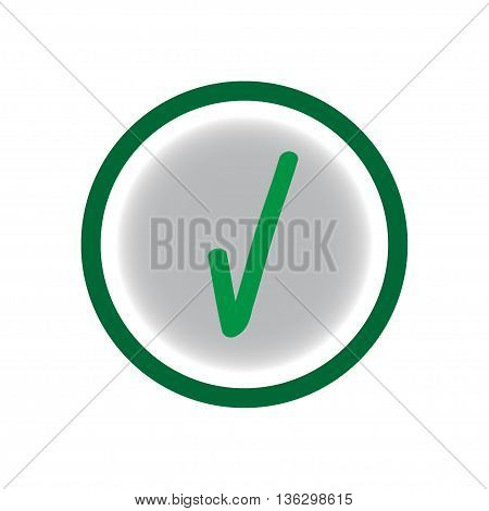 Tick green sign on a gray circle. Isolated on white background. Tick green in gray symbol marks. Tick sign picture. Gray sticker vector illustration. Flat vector image. Vector illustration.