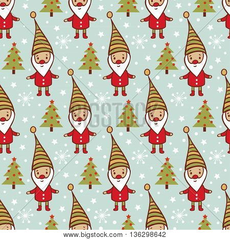 Childish vector seamless pattern. Christmas and New Year background with tree, gnome and snow.