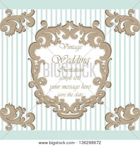 Wedding Invitation card with classic royal ornament. Opal blue color. Vector